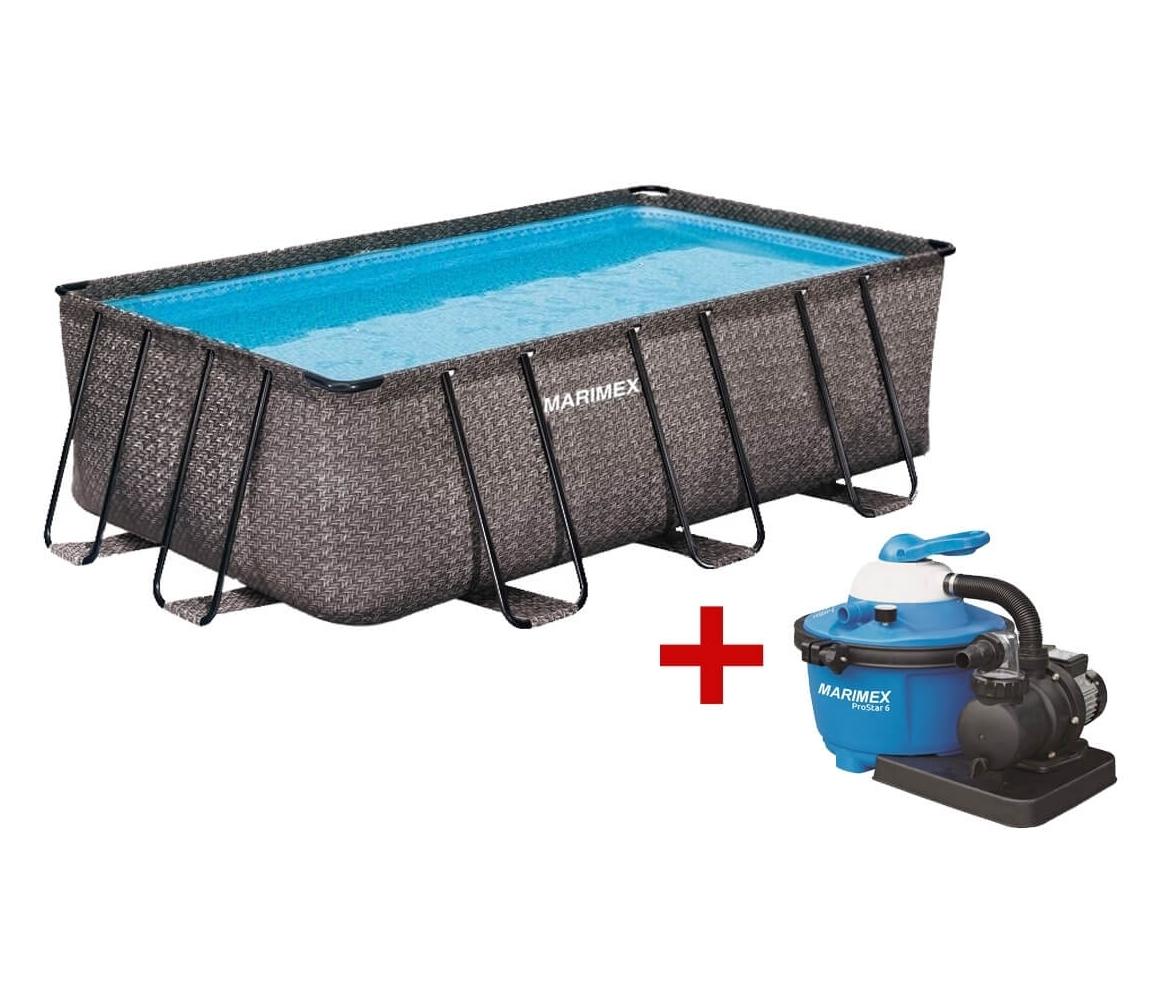 Bazén Florida Premium 2,15x4,00x1,22m s pieskovou filtráciou - motív RATAN
