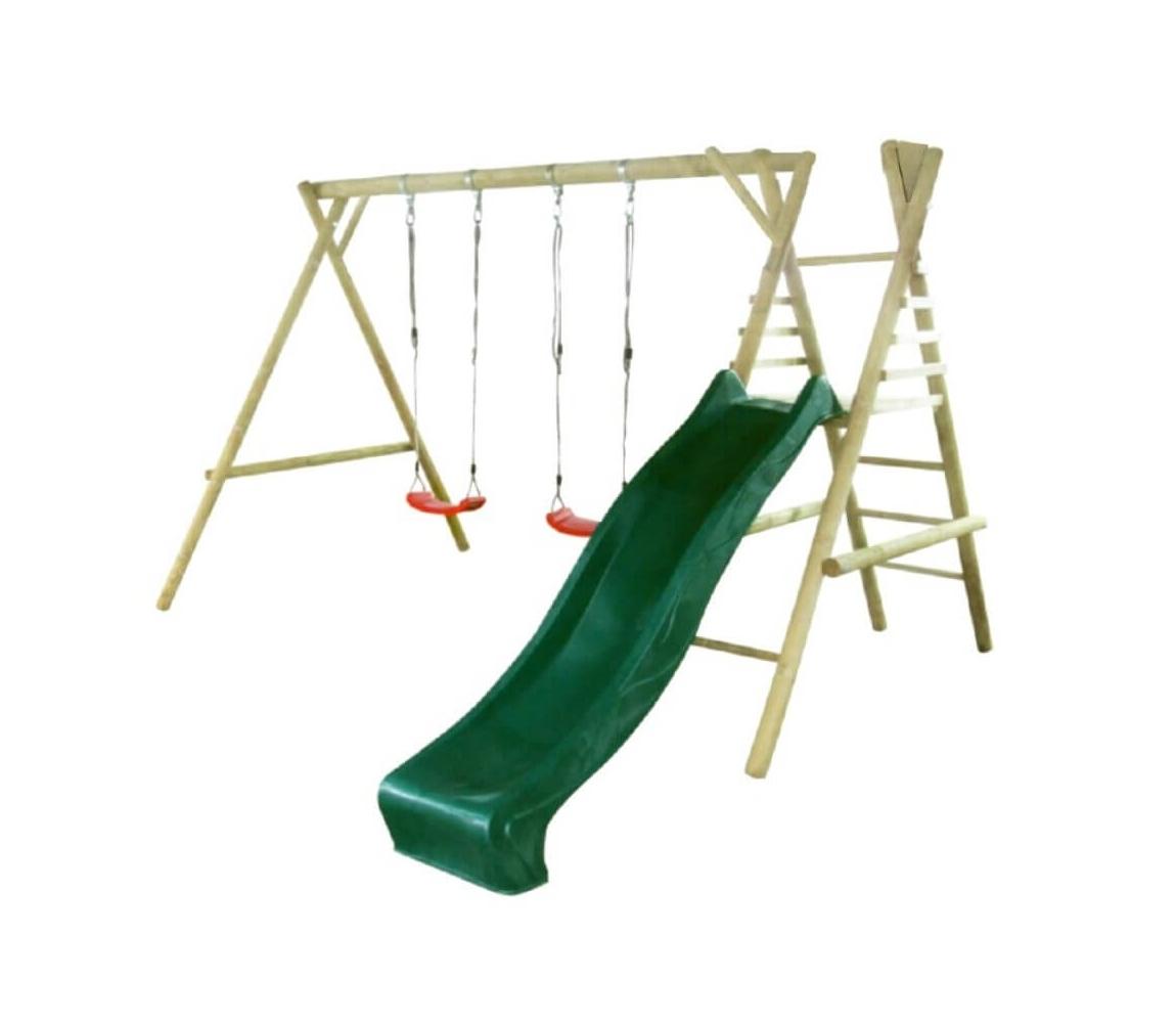 Detská drevená hojdačka Marimex 11 so šmýkľavkou