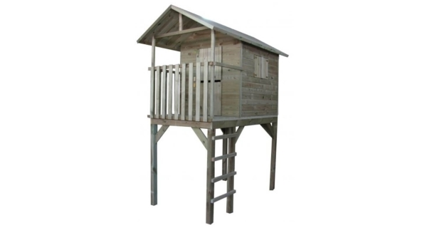 Detský drevený domček s rebríkom Výhliadka