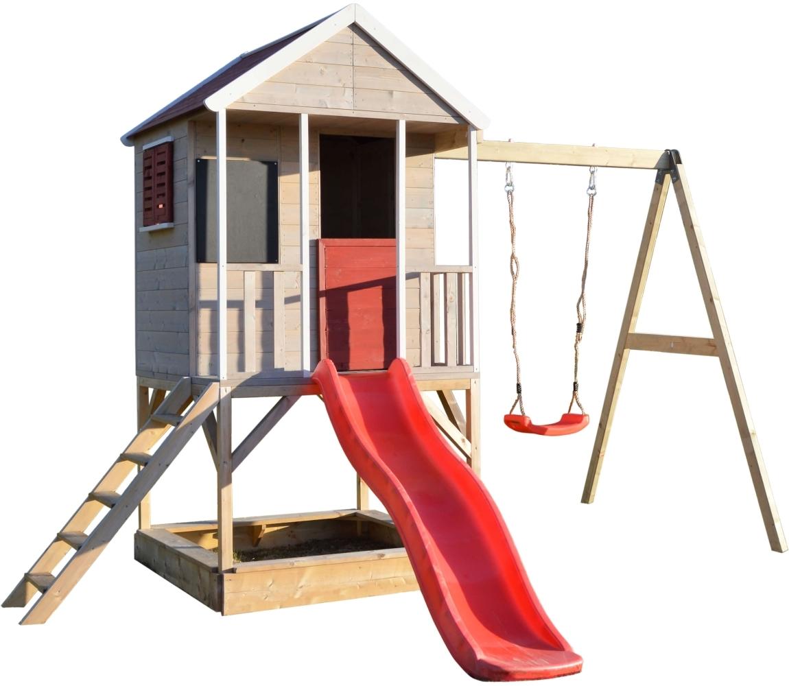 Detský drevený domček Veranda s hojdačkou