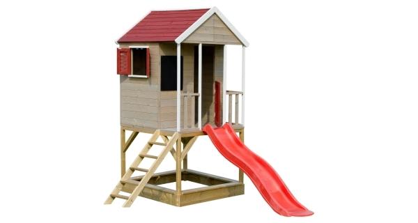 Detský drevený domček Veranda so šmykľavkou