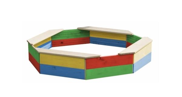 Drevené pieskovisko osemhranné farebné