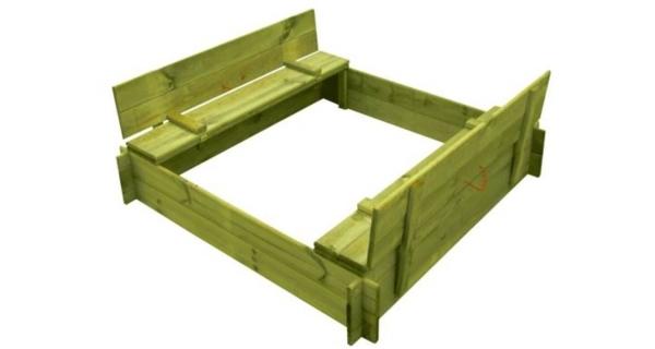 Drevené pieskovisko štvorhranné s krytom/lavičkou