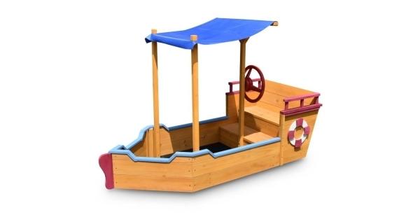Drevené pieskovisko - tvar loď