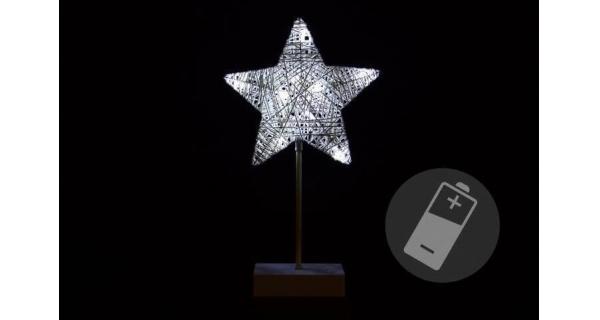 Hviezda vianočná stojaca -10 LED - strieborná