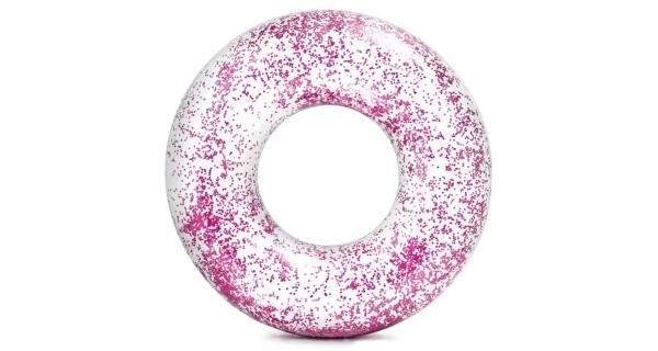 Nafukovací trblietavý kruh 107 cm - trblietavý ružový