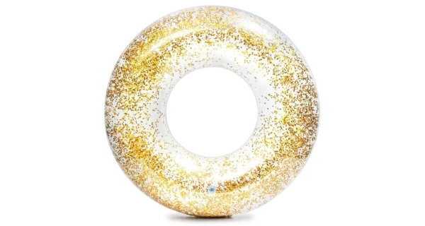 Nafukovací trblietavý kruh 107 cm - zlatý
