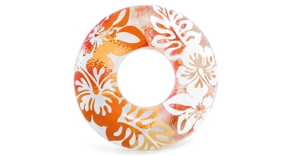 Nafukovacie koleso 91 cm - kvetinové vzory, oranžová farba