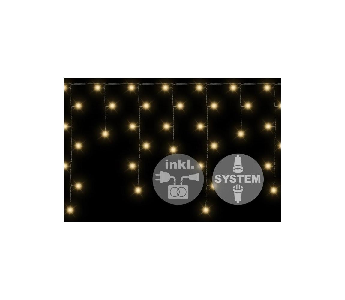 Svetelný záves dvojitý - 80 LED - teplá biela - napájanie